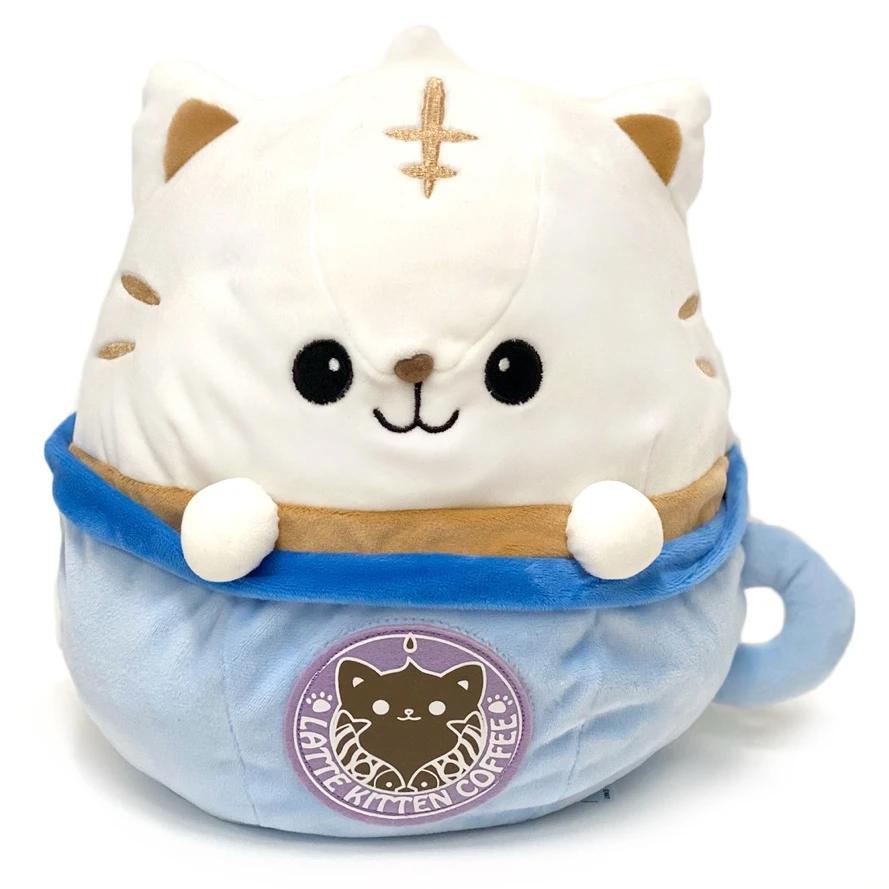 "Latte Neko Coffee Cat Plush (12"") – Blue"